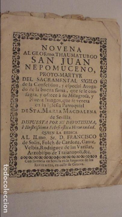 NOVENA.SAN JUAN NEPOMUCENO.PARROQUIA STA.MARIA MAGDALENA.SEVILLA SIGLO XVIII.FRANCISCO DE SOLIS (Libros Antiguos, Raros y Curiosos - Religión)