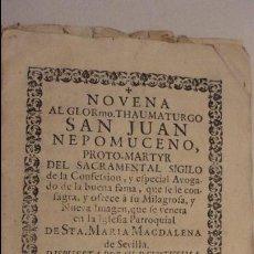 Libros antiguos: NOVENA.SAN JUAN NEPOMUCENO.PARROQUIA STA.MARIA MAGDALENA.SEVILLA SIGLO XVIII.FRANCISCO DE SOLIS. Lote 127593403