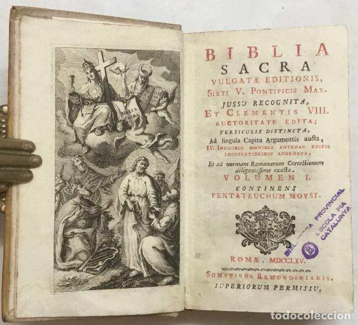 BIBLIA SACRA VULGATAE EDITIONIS SIXTI V. PONTIFICIS MAXIMI JUSSU RECOGNITA, ET CLEMENTIS VIII. AUCTO (Libros Antiguos, Raros y Curiosos - Religión)