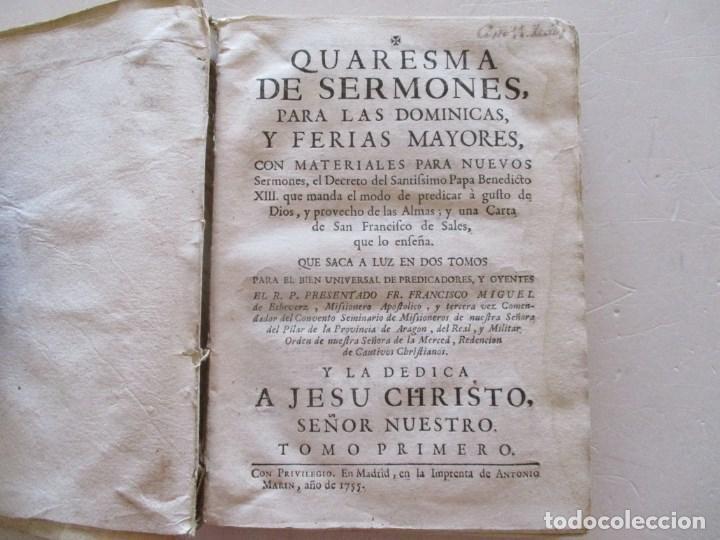 Libros antiguos: FR. FRANCISCO MIGUEL DE ECHEVERZ Quaresma de Sermones... RM86974 - Foto 2 - 128275763