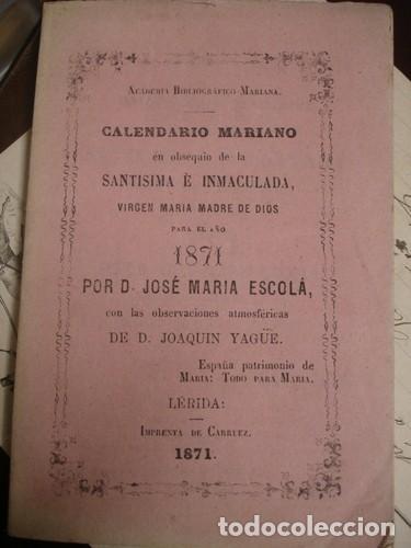 Calendario Mariano.Calendario Mariano 1871 Portal Del Col Leccionista