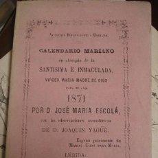 Libros antiguos: CALENDARIO MARIANO 1871 - PORTAL DEL COL·LECCIONISTA *****. Lote 128327059