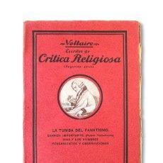 Libros antiguos: VOLTAIRE - CRÍTICA RELIGIOSA ( SEGUNDA SERIE ) - EDITORIAL OLIMPO. Lote 129500311