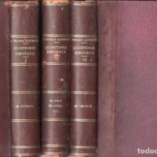 Libros antiguos: S. THOMAE AQUINATIS : QUAESTIONES DISPUTATAE (LETHIELLEUX PARISIIS, 1882/4) LATIN - 3 VOLS COMPLETO. Lote 131572122