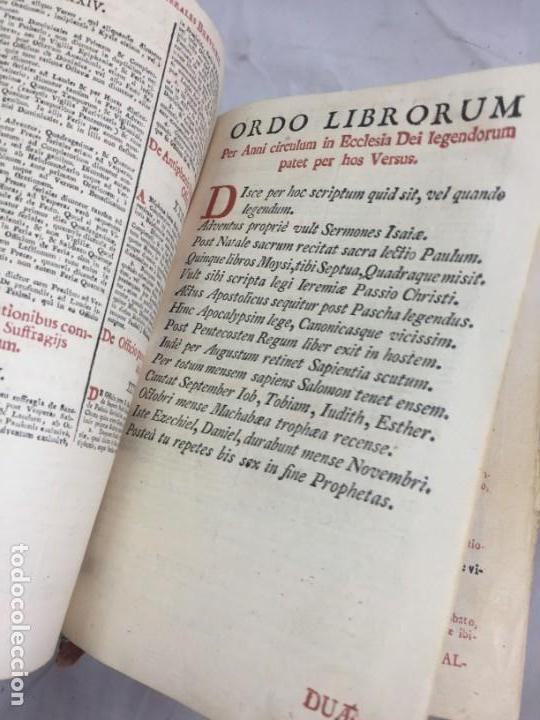 Libros antiguos: Breviarium Romanum Matriti 1778 dos tintas pátina uso, marcas de uso grabados - Foto 8 - 132135990