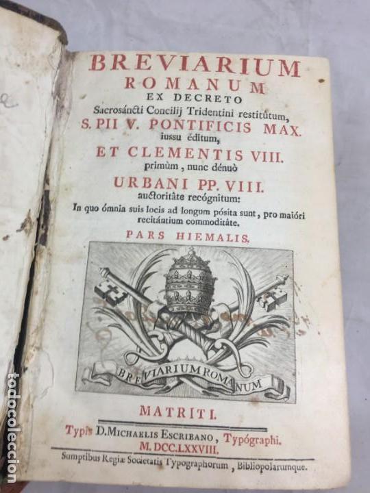 BREVIARIUM ROMANUM MATRITI 1778 DOS TINTAS PÁTINA USO, MARCAS DE USO GRABADOS (Libros Antiguos, Raros y Curiosos - Religión)