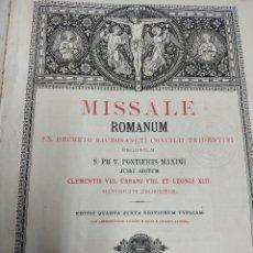 Libros antiguos: MISSALE ROMANUM, MDCCCXC. 1890 ENCUADERNACIÓN CUERO CRUCIFIJO GRABADO Y DORADO EN PORTADA 31 X 24 CM. Lote 132277486