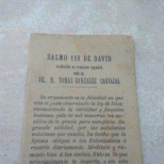 Libros antiguos: SALMO 118 DE DAVID - TRADUCIDO DR D. TOMÁS GONZÁLEZ CARVAJAL. Lote 132501693