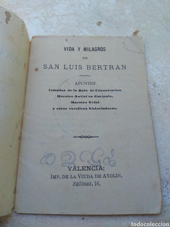 Libros antiguos: Vida y Milagros de San Luis Beltrán - Valencia 1881 - Foto 2 - 132503347