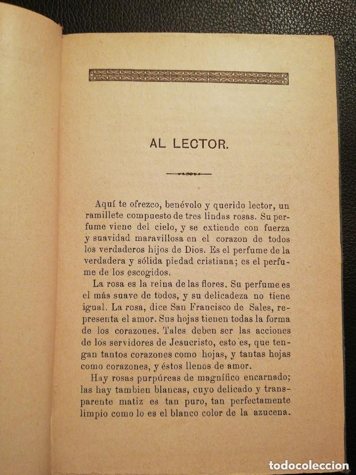 Libros antiguos: Libro Las Tres Rosas de los Escogidos - Monseñor de Segur 1890 - Foto 5 - 132695834