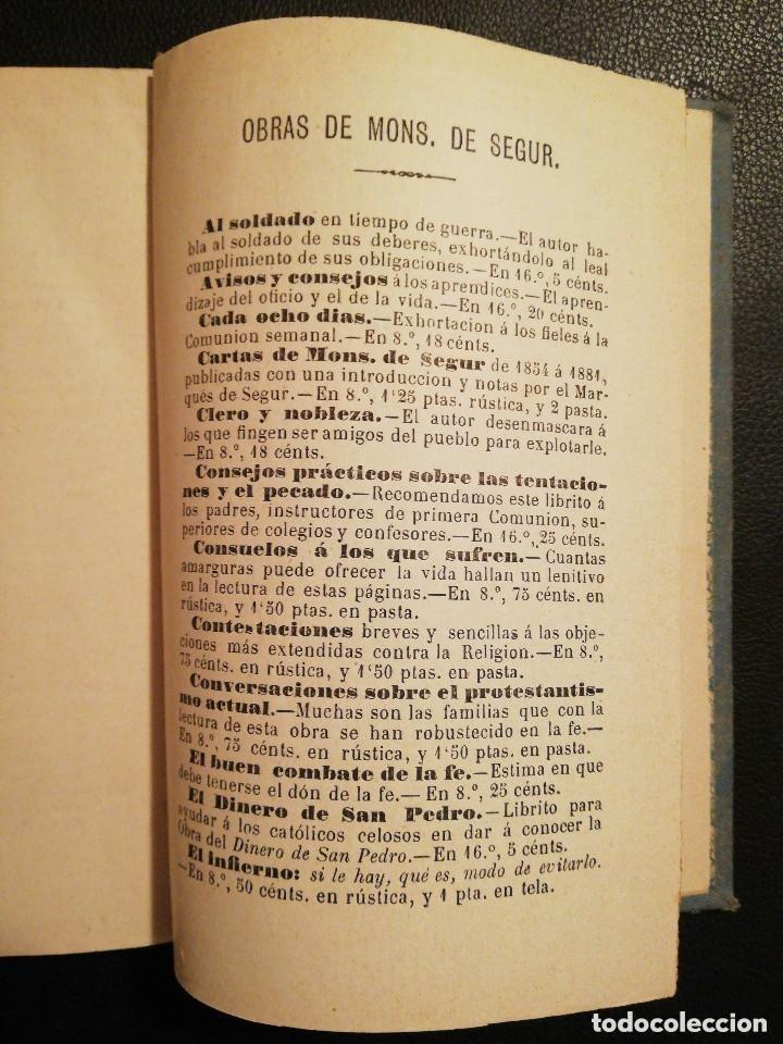 Libros antiguos: Libro Las Tres Rosas de los Escogidos - Monseñor de Segur 1890 - Foto 8 - 132695834