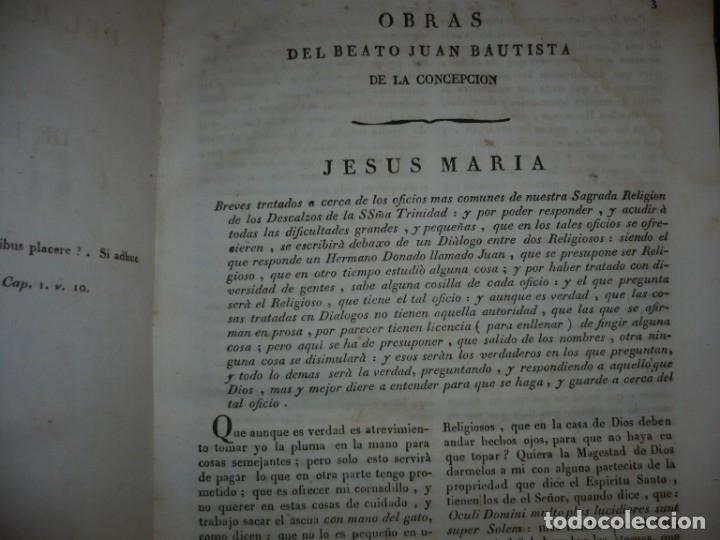Libros antiguos: OBRAS DEL BEATO JUAN BAUTISTA DE LA CONCEPCION 1831 ROMA TOMO 7º DOCTRINAL - Foto 5 - 133176822