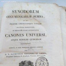 Libros antiguos: SYNODORUM OECUMENICARUM SUMMA - CANONES UNIVERSI AÑO 1828. Lote 135615394