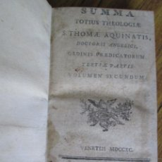 Libros antiguos: SUMMA - TOTIUS THEOLOGIAE - S. TOMA AQUANATIS - VOLUMEN SECUNDUM - VEVETIIS 1790 . Lote 136066494