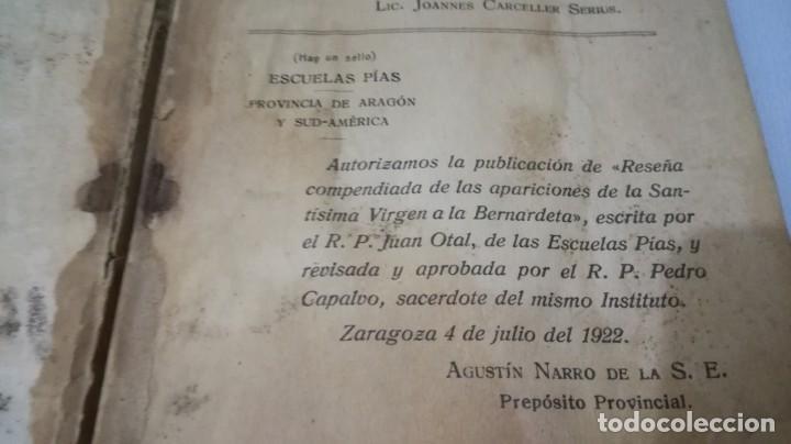 Libros antiguos: NUESTRA SEÑORA DE LOURDES-1922-JUAN OTAL ESCUELAS PIAS-ZARAGOZA - Foto 5 - 138835518