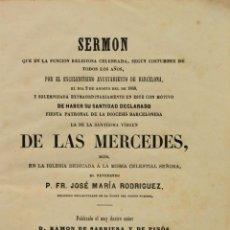 Libros antiguos: SERMON QUE EN LA FUNCION RELIGIOSA CELEBRADA, SEGUN COSTUMBRE DE TODOS LOS AÑOS, POR EL.... Lote 140132914