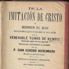 Libros antiguos: ANTIGUO LIBRO DE 1925 DE LA IMITACION DE CRISTO CONTIENE ALGUNA ESTAMPA ANTIGUA 650 PAGINAS. Lote 140854118