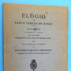Libros antiguos: ELOGIO DE SANTA TERESA DE JESÚS. . Lote 141737866