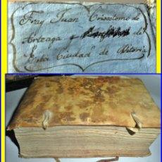 Libros antiguos: AÑO 1788: LIBRO EN PERGAMINO CON EX-LIBRIS MANUSCRITO DE FRAY CRISÓSTOMO DE VITORIA. SIGLO XVIII.. Lote 142898614