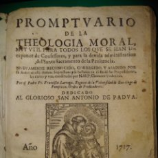 Libros antiguos: PROMPTVARIO DE LA THEOLOGIA MORAL 1717. Lote 143767504
