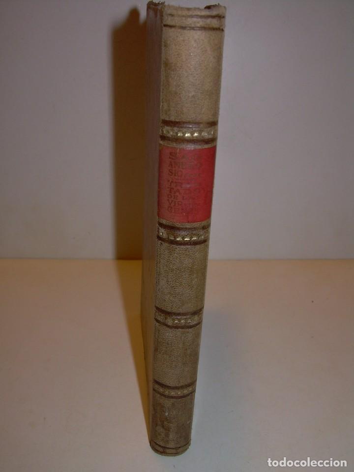 Libros antiguos: LIBRO TAPAS DE PIEL.TRATADO DE LAS VIRGENES ESCRITO POR SAN AMBROSIO. - Foto 2 - 145648350