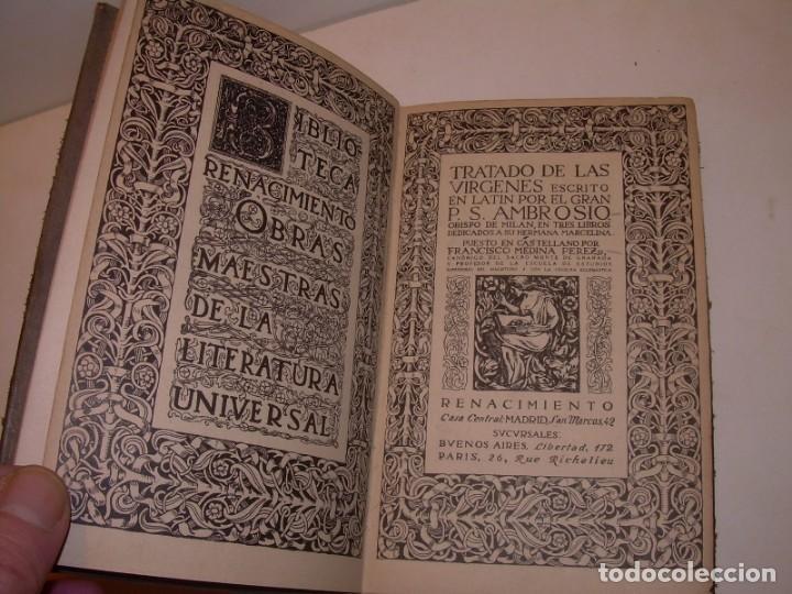 Libros antiguos: LIBRO TAPAS DE PIEL.TRATADO DE LAS VIRGENES ESCRITO POR SAN AMBROSIO. - Foto 4 - 145648350