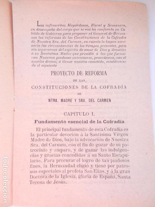 Libros antiguos: CONSTITUCIONES REFORMADAS DE LA C. DE NTRA. MADRE Y SRA. DEL CARMEN - TIP. EL CORREO DE CÁDIZ 1910. - Foto 2 - 146310782