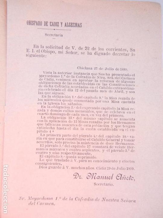 Libros antiguos: CONSTITUCIONES REFORMADAS DE LA C. DE NTRA. MADRE Y SRA. DEL CARMEN - TIP. EL CORREO DE CÁDIZ 1910. - Foto 3 - 146310782