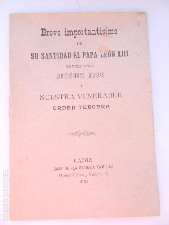 BREVE IMPORTANTISIMO DE SU SANTIDAD EL PAPA LEÓN XIII ... - CASA DE LA SAGRADA FAMILIA CÁDIZ 1901. (Libros Antiguos, Raros y Curiosos - Religión)