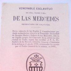 Libros antiguos: VENERABLE ESCLAVITUD DE NTRA. MADRE Y SRA. DE LAS MERCEDES - IMPRENTA DE ARJONA CÁDIZ 1865.. Lote 146316342