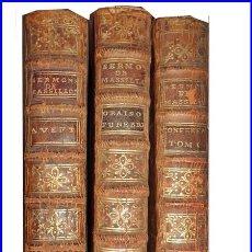 Libros antiguos: AÑO 1758-61: 3 TOMOS DE MASSILLON DEL SIGLO XVIII. CON EX-LIBRIS MANUSCRITO DE LA ÉPOCA.. Lote 146910746
