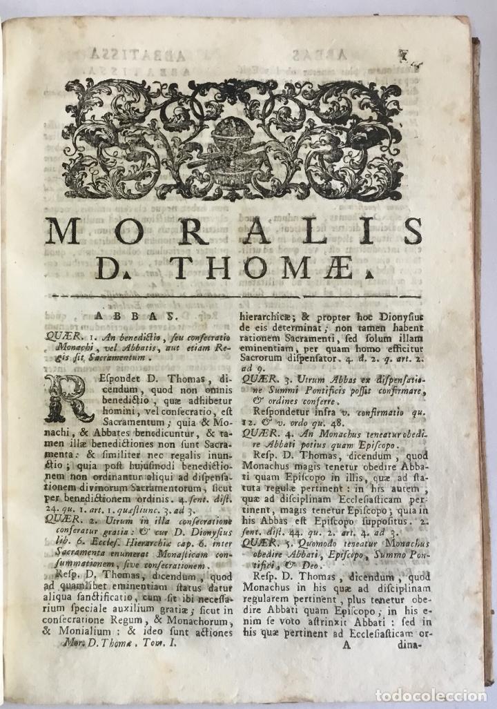 Libros antiguos: MORALIS D. THOMAE AQUINATIS DOCTORIS ANGELICI ORDINIS..... VENETIIS 1757. 2 TOMOS. PERGAMINO. - Foto 3 - 148044930