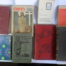 Libros antiguos: LOTE DE 8 ANTIGUOS LIBROS RELIGIOSOS, VER FOTOS. Lote 148047682