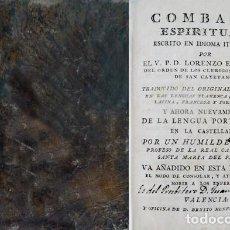 Alte Bücher - SCUPOLI, Lorenzo. Combate Espiritual. Parte Primera y Segunda. 1807. - 148432386
