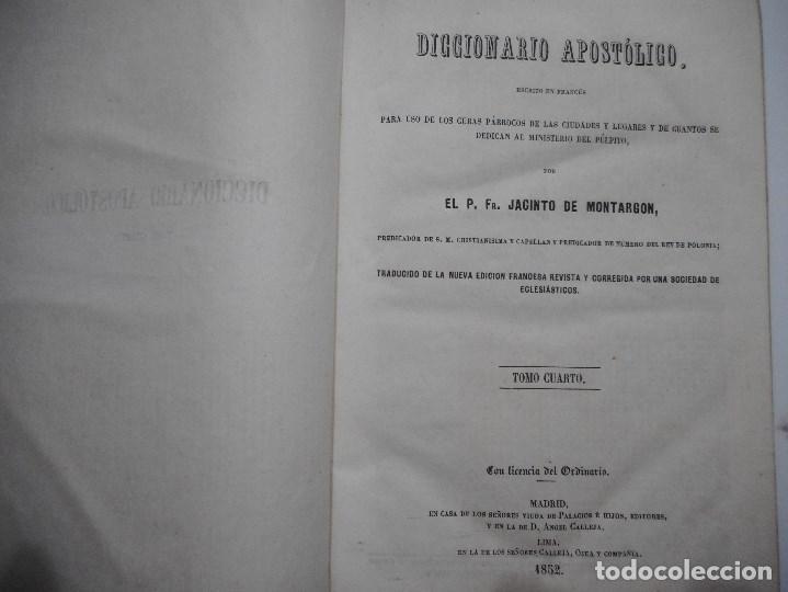 Libros antiguos: JACINTO DE MONTARGON Diccionario apostólico.Tomo IV Y92179 - Foto 2 - 148916250