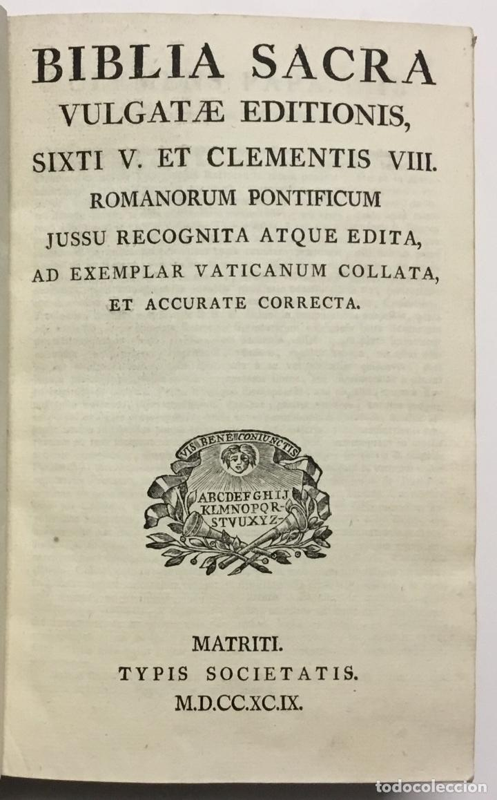 Libros antiguos: BIBLIA SACRA VULGATAE EDITIONIS, SIXTI V. ET CLEMENTIS VIII. - Foto 2 - 123139907