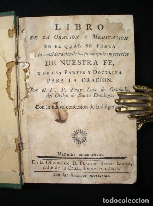 Libros antiguos: Libro de la oración y la meditación, 1783. Fray Luis de Granada. Numerosos grabados - Foto 15 - 150825114