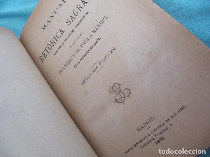 Libros antiguos: MANUAL DE RETÓRICA SAGRADA. 1886. FCO. DE PAULA MARURI. - Foto 8 - 151245362