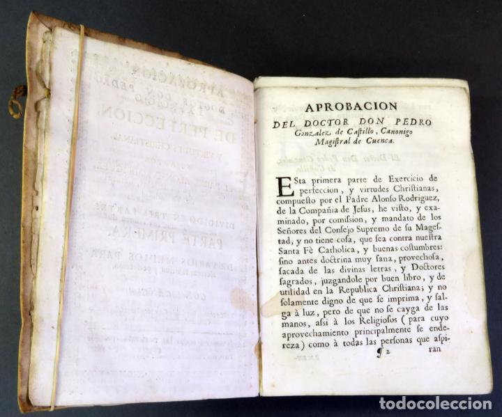 Libros antiguos: Exercicio Perfección y Virtudes Christianas Padre Alonso Rodríguez 3 tomos Pablo Campins 1758 - Foto 4 - 152760850
