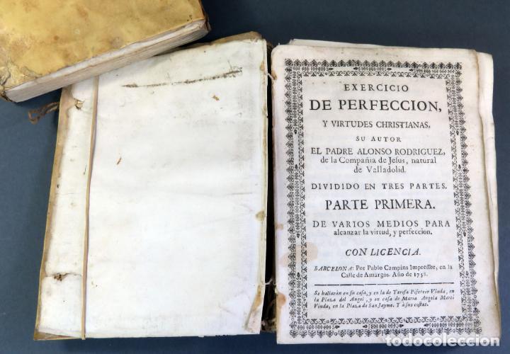 Libros antiguos: Exercicio Perfección y Virtudes Christianas Padre Alonso Rodríguez 3 tomos Pablo Campins 1758 - Foto 7 - 152760850