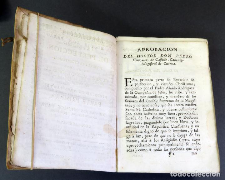 Libros antiguos: Exercicio Perfección y Virtudes Christianas Padre Alonso Rodríguez 3 tomos Pablo Campins 1758 - Foto 8 - 152760850