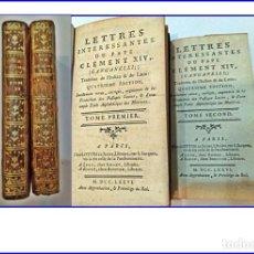 Libros antiguos: AÑO 1786: LAS CARTAS DEL PAPA CLEMENTE XIV (GANGANELLI). 2 TOMOS DEL SIGLO XVIII.. Lote 155340870
