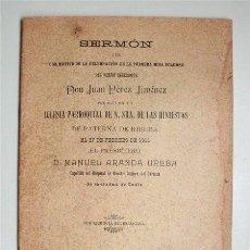 Libros antiguos: SERMÓN PREDICADO EN LA IGLESIA DE NTRA. SRA. DE LAS HINIESTAS DE PATERNA DE RIBERA (CÁDIZ) 1913. Lote 155413590