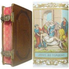 Libros antiguos: 1867 - EXQUISITA ENCUADERNACIÓN EN PIEL GOFRADA CON CIERRES METÁLICOS - ANTIGUO MISAL ILUSTRADO. Lote 163552190