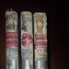 Libros antiguos: JOANNIS DEVOTI, INSTITUTIONUM CANONICARUM - LIBRI VI - 4 TOMOS EN 3 VOLÚMENES - 1819. Lote 159443162