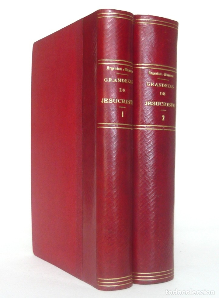Libros antiguos: 1900 - Consideraciones Teológicas y Espirituales sobre las Grandezas de Jesucristo - 2 Tomos - Piel - Foto 2 - 159602866