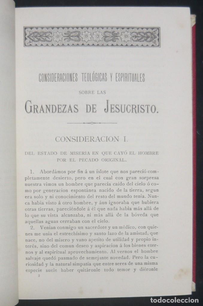 Libros antiguos: 1900 - Consideraciones Teológicas y Espirituales sobre las Grandezas de Jesucristo - 2 Tomos - Piel - Foto 6 - 159602866