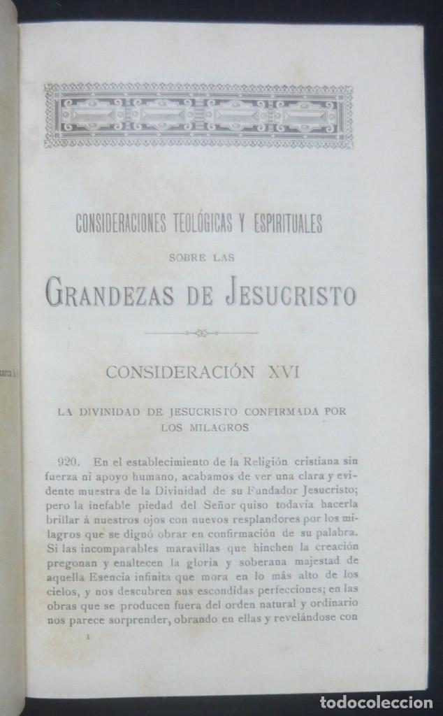 Libros antiguos: 1900 - Consideraciones Teológicas y Espirituales sobre las Grandezas de Jesucristo - 2 Tomos - Piel - Foto 10 - 159602866