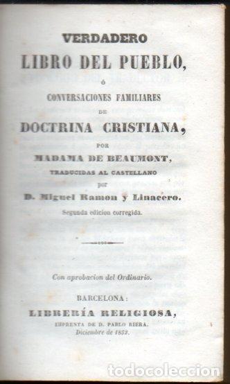 Libros antiguos: M. DE BEAUMONT : VERDADERO LIBRO DEL PUEBLO (LIB. RELIGIOSA, 1852) - Foto 2 - 159688242