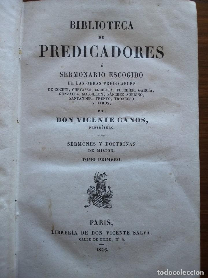 BIBLIOTECA DE PREDICADORES O SERMONARIO ESCOGIDO POR VICENTE CANOS - PARIS 1846 -- 12 TOMOS -- (Libros Antiguos, Raros y Curiosos - Religión)